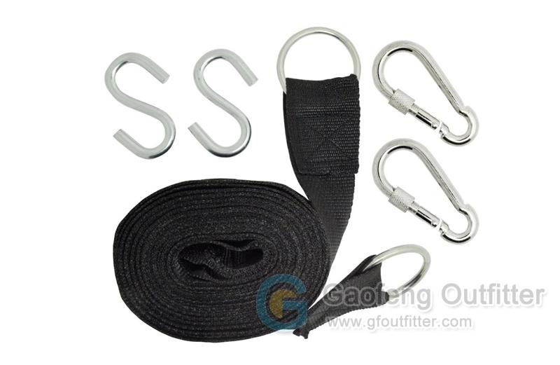 Black Nylon Hammock Hanging Straps